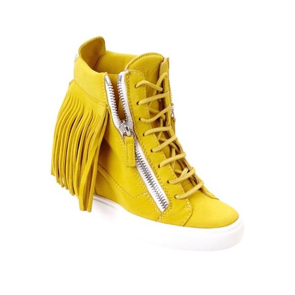 e10a86dd2c1fd Giuseppe Zanotti Shoes - Giuseppe Zanotti Suede Lorenz Fringe Wedge Sneaker